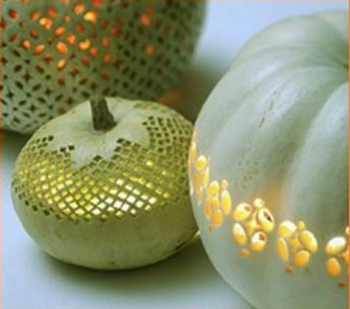 pumpkin decorating ideas: finished drilled hole design