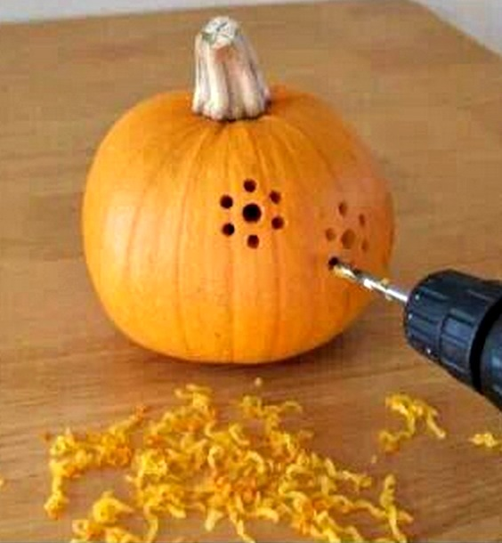 pumpkin decorating ideas: Carving pumpkins with a drill